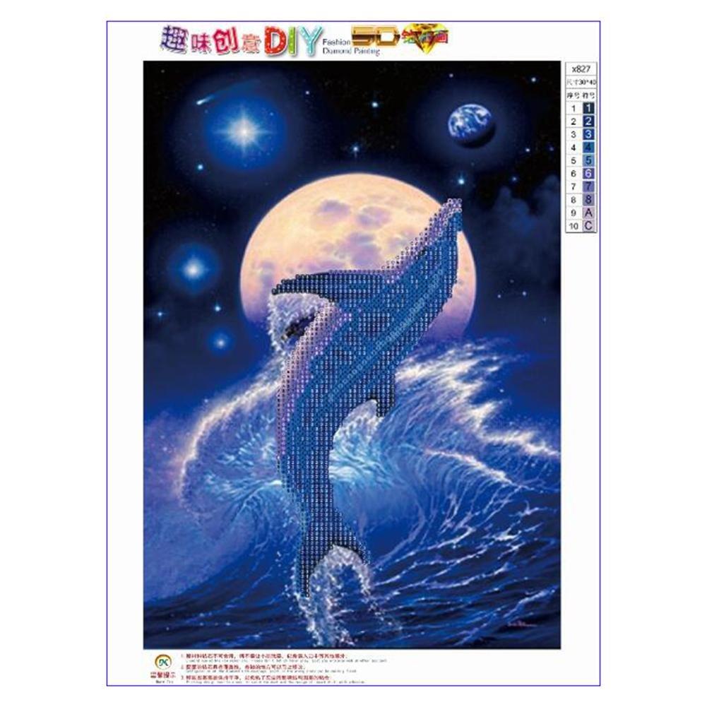 Iainstars 5D Kit de pintura de punto de cruz de diamante, diseño de delfín Awakingdemi DIY 5D bordado de diamantes de imitación pintura de punto de cruz ...