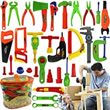 32 Pieces Kids Tool Sets Toys, Toddler Baby Construction Toys Pretend Power Play Tools Box Workshop Accessories Toy Set Repair Tool Gifts with a Handy Storage Bag for Boys Girls Children by TiTa-Dong