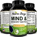 Mind & Memory Enhancement Pills with Ginkgo Biloba St. John's Wort - Brain Booster Nootropic Focus Mental Clarity Anti Aging Pure Vitamins Natural Dietary Supplement for Men & Women by Natures Design