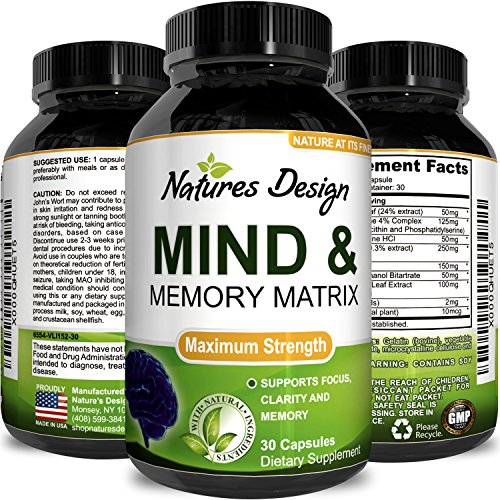 Natures Design Mind & Memory Matrix Brain Supplement for Adults to Boost Focus + Concentration + Mental Performance – Natural Nootropic Pills for Men & Women – DMAE Bitartrate + Green Tea + Bacopa - Biloba Green Tea