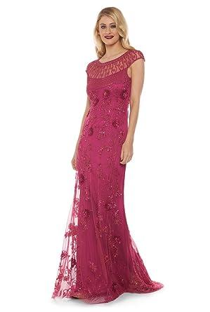 Elizabeth Vintage Inspired Maxi Dress in Raspberry (US8 EU40)