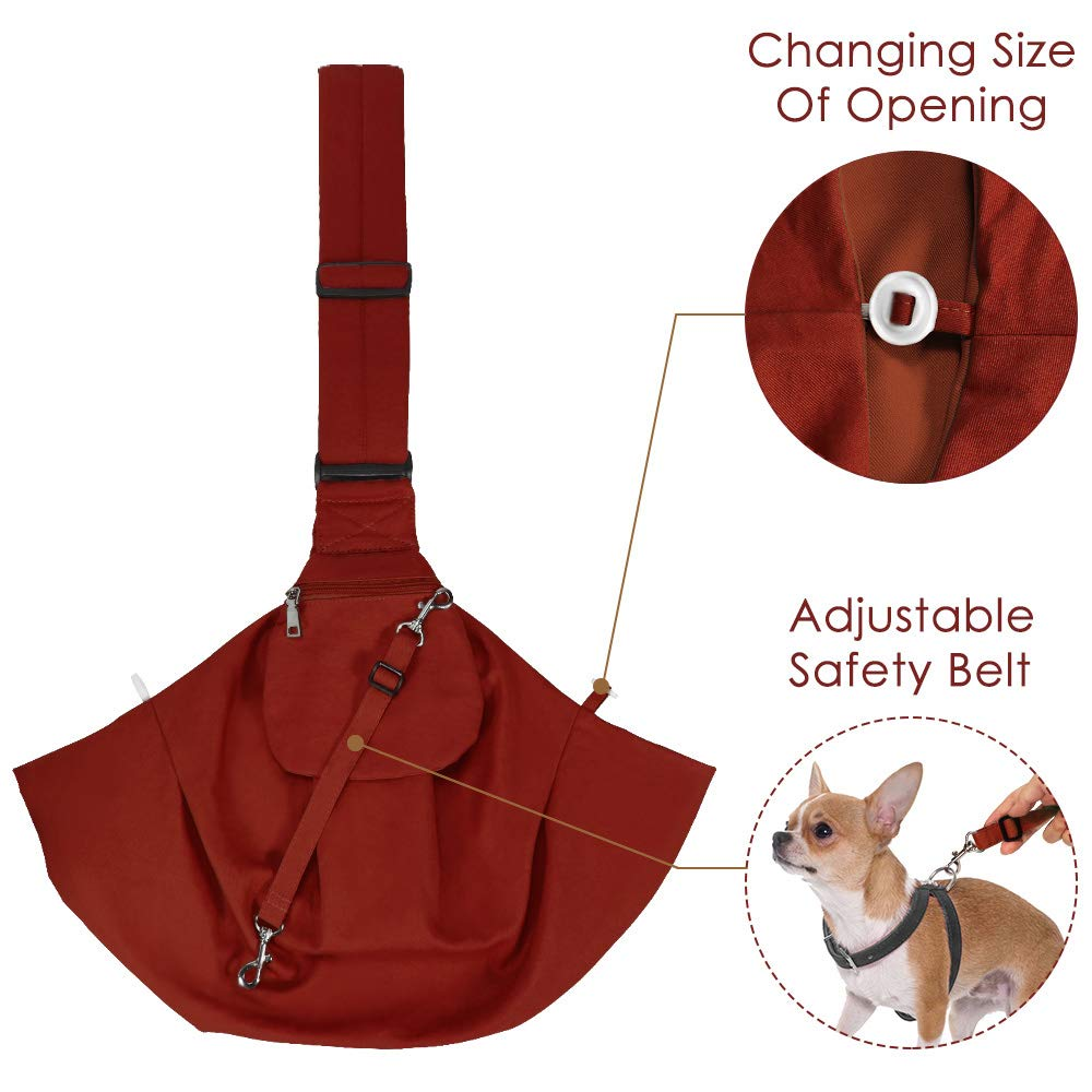 Small Pet Sling Carrier Hands Free Carry Adjustable Shoulder Strap Reversible Tote Bag with a Pocket Safety Belt Dog Cat Traveling Subway AutoWT Dog Padded Papoose Sling