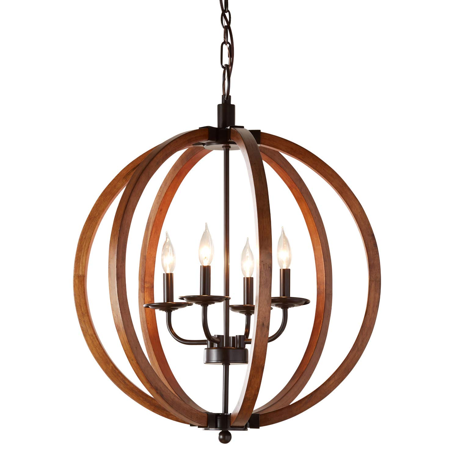 Rustic orb chandelier showcases distressed wood in oil rubbed bronze finish hanging round ceiling pendant lamp provides ample lighting candle style