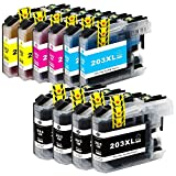 Colour-Store 10 Packs - Compatible Ink Cartridges for Brother LC-203 LC-201 LC-203XL LC-203BK LC-203C LC-203M LC-203Y Inkjet Cartridge Compatible With Brother MFC-J4320DW MFC-J4420DW MFC-J4620DW MFC-J5520DW MFC-J5620DW MFC-J5720DW (4 Black, 2 Cyan, 2 Magenta, 2 Yellow)