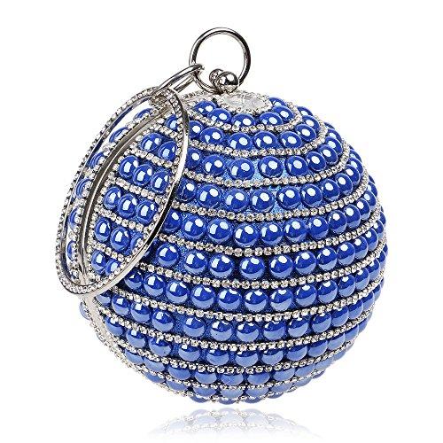 Women Clutch Bag Purse Evening Handbag Glitter Diamante Pearl Shoulder Bag Circular For Bridal Wedding Party Prom Clubs Ladies Gift,Blue-Diameter12CM
