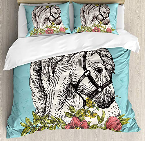 Ambesonne Floral Duvet Cover Set Queen Size, Boho Style Horse Opium Blossoms Poppy Wreath Equestrian Illustration, Decorative 3 Piece Bedding Set with 2 Pillow Shams, Turquoise Green