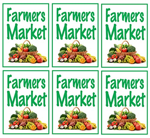 Window Retail Sign - Farmers Market | Large Store Window/Wall Retail Display Paper Signs | Full Color | 18