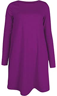 110310f40a3 Womens Ladies Long Sleeve Midi Plain Flared A line Skater Swing Dress  Jersey Tee