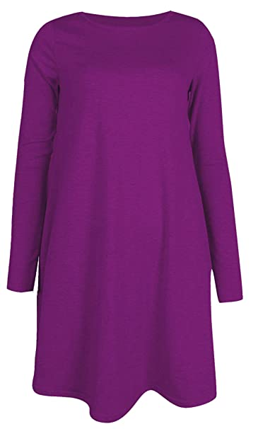 1311e6c10d18 Womens Ladies Long Sleeve Midi Plain Flared A line Skater Swing Dress  Jersey Tee  Amazon.co.uk  Clothing
