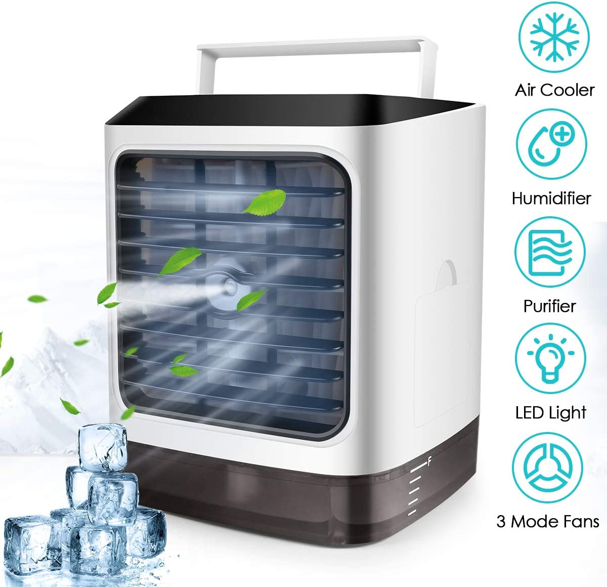 Personal Air Cooler, 3 in 1 Portable Evaporative Conditioner with LED Light/ Purifier, Mini USB Simply Modern Fan for Office, Camping, Kitchen, Bedroom