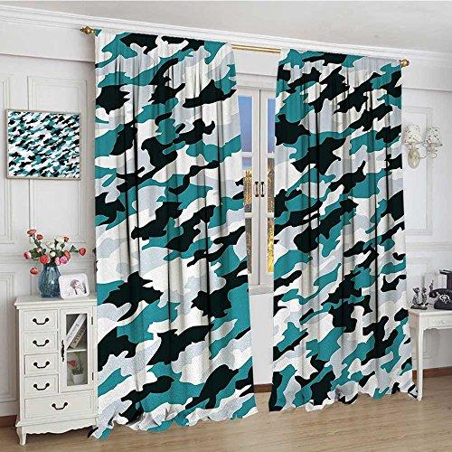 (youpinnong Camo Patterned Drape for Glass Door Aquatic Ocean Sea Inspired Illustration Navy Tile Concealment Texture Waterproof Window Curtain 84