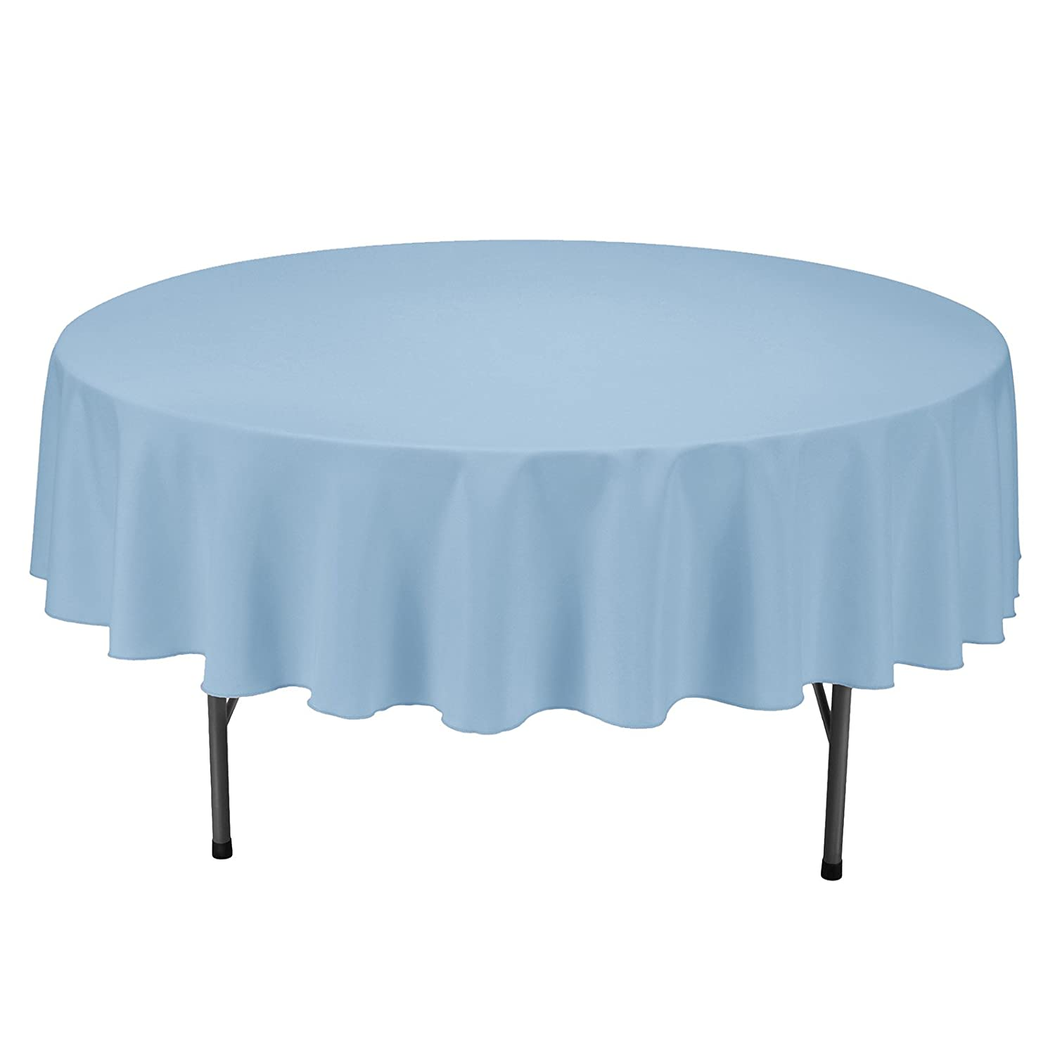 VEEYOO Tablecloth 90 inch Round Solid Polyester Table Cloth for Wedding Restaurant Party Kitchen Dining Table Christmas, Baby Blue