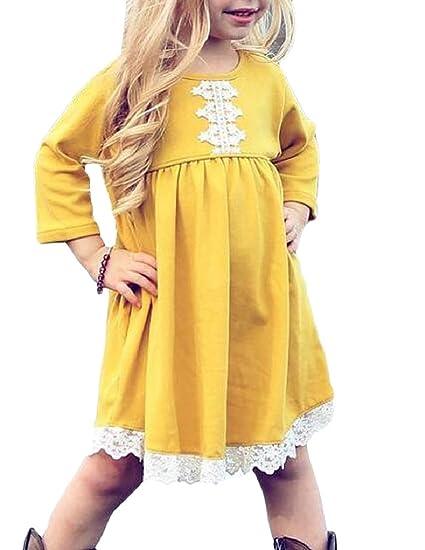f78899a040a1 Amazon.com: Tymhgt Girls Slim Lace Trim O Neck Long Sleeve Swing Dress:  Clothing