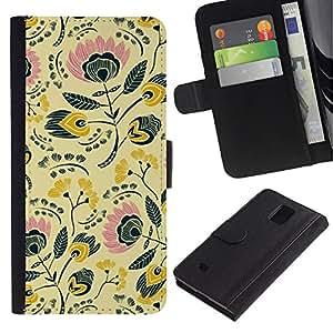 For Samsung Galaxy Note 4 IV Case , 80S 70S Wallpaper Design - la tarjeta de Crédito Slots PU Funda de cuero Monedero caso cubierta de piel
