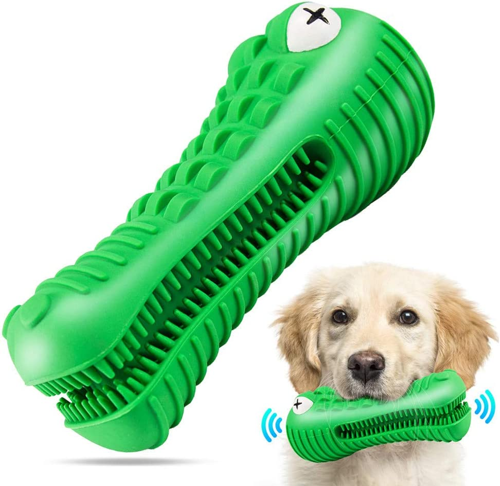 Kitchen & Dining : Dog Chew Toys for Aggressive Chewers Large Breed, RexSoul Dog Toothbrush & Squeaker Chew Toys, Reduces Plaque & Tartar Teeth Cleaning Play Toys Tough Tear-Resistant Durable Dog Toys (Green) :