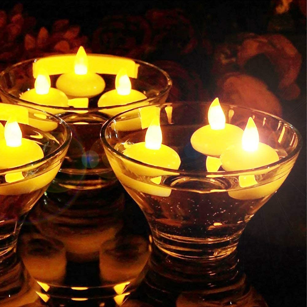 Little bees 12 Pcs Floating Led Candles Flameless Waterproof Wedding Birthday Party Christimas Thanksgiving Decoration and Gift Fake Tealights Yellow