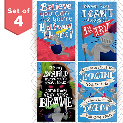 Kid's Room Posters with Inspirational & Motivational Phrases. Medieval Knights Theme with Dragons and Courageous Knights to Incentivize Your Kids to Achieve Whatever Goal They Set to Themselves