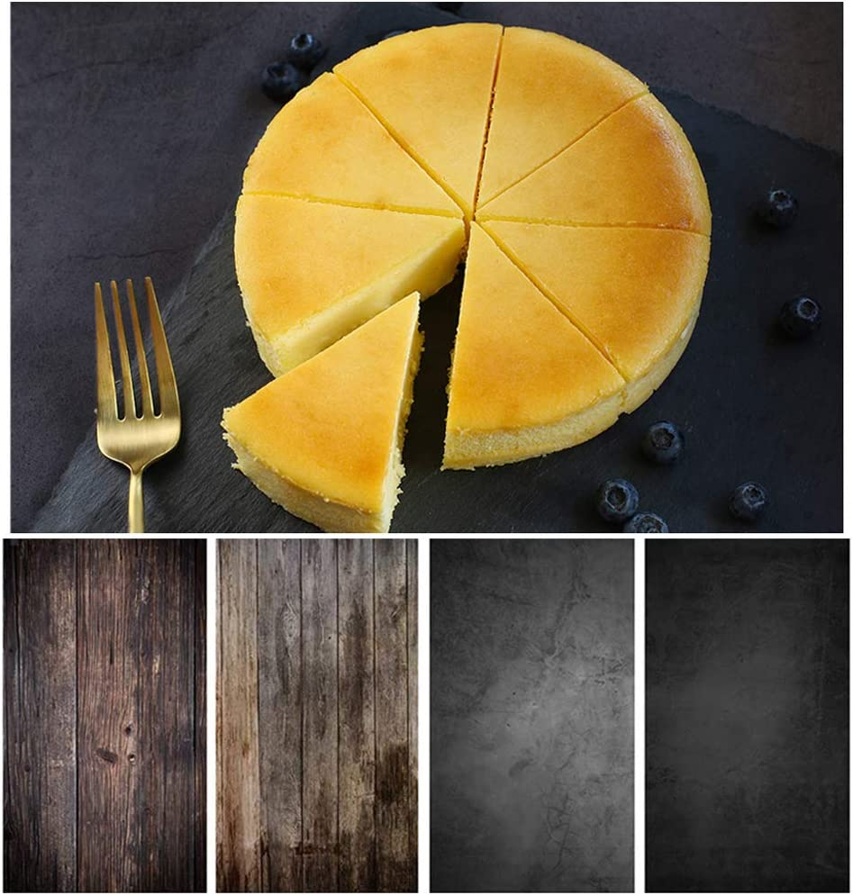 Bcolor Food Photography Backdrops 2 Pack Kit 22x35Inch/ 56x88cm Flat Lay Double Sided Black Photo Background Rolls for Product Tabletop Props Pictures, 4 Patterns