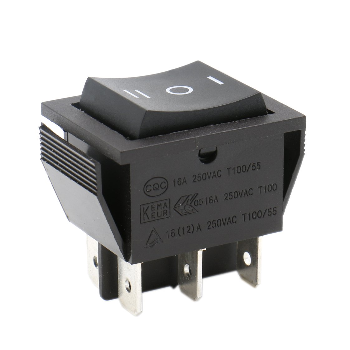 Heschen Rocker Switch ON-OFF-ON DPDT 6 Terminals 16A 250VAC Black 2Pack Ningbo Master Soken Electrical Co.Ltd RK1-01-HS