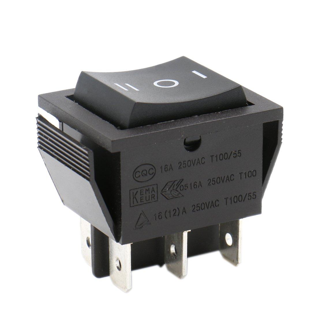 Heschen Interrupteur à bascule On-off-on DPDT 6Bornes 16A 250VAC Noir Lot de 2 Ningbo Master Soken Electrical Co.Ltd RK1-01-HS