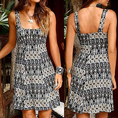 PASATO Women Halter Off-Shoulder Boho Printed Sleeveless Casual Strap Mini Beachwear Dress Sling Sundress