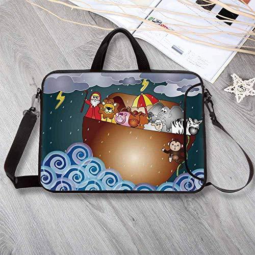 7a30c0447f Religious Anti-Seismic Neoprene Laptop Bag,The Ark in Ocean Under Dark Rain  Storm