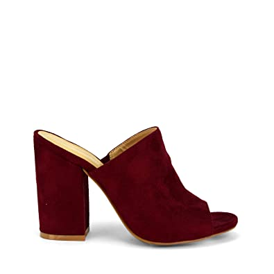 cd60750ecf57a GottaBe Shoes Womens Heels Avila Bordeaux Suede by Wild Diva Slip-On Peep  Toe Chunky