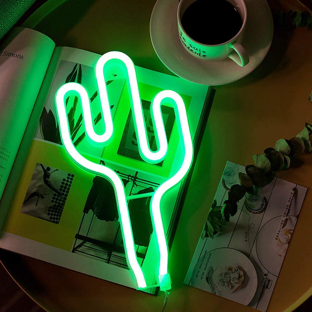 Cactus Neon Signs Light LED Green Cactus Lights Wall Lamp Room Decor Battery/USB Operated Neon Lights Green Neon Signs Cactus Lamps for Children's Bedroom Bar Wedding Christmas