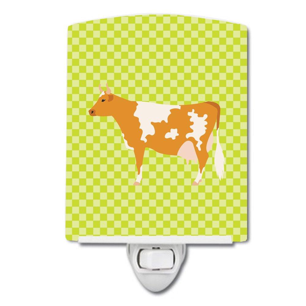 Carolines Treasures Guernsey Cow Green Ceramic Night Light 6x4 Multicolor