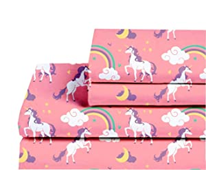 Castle and Clover Lunar Unicorn Sheets for Girls in Pink Twin or Full Kids Sheet Set with Flat Sheet, Fitted Sheet, Pillowcase(s) (Full)