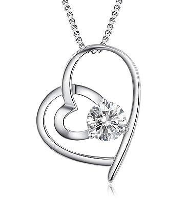 Abiguell Damen Schmuck, Halskette Silber mit Herz Anhänger 925 Sterling  Silber Zirkonia, Schmuck mit Etui 45cm, Weiß  Amazon.de  Schmuck 65bda98155
