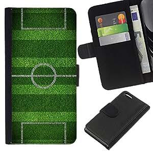 Apple iPhone 5C Modelo colorido cuero carpeta tirón caso cubierta piel Holster Funda protección - Soccer Field Goal Game Goal