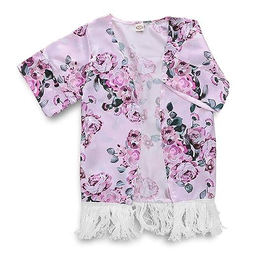 5a65de56a Amazon.com  Toddler Kids Baby Girls Floral Print Tassel Kimono Shawl ...