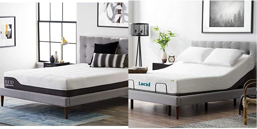LUCID 12 Inch King Hybrid Mattress - Bamboo Charcoal and Aloe Vera Infused Memory Foam - Motion Isolating Springs & L300 Bed Base 5 Minute Assembly Adjustable, Twin XL, Charcoal