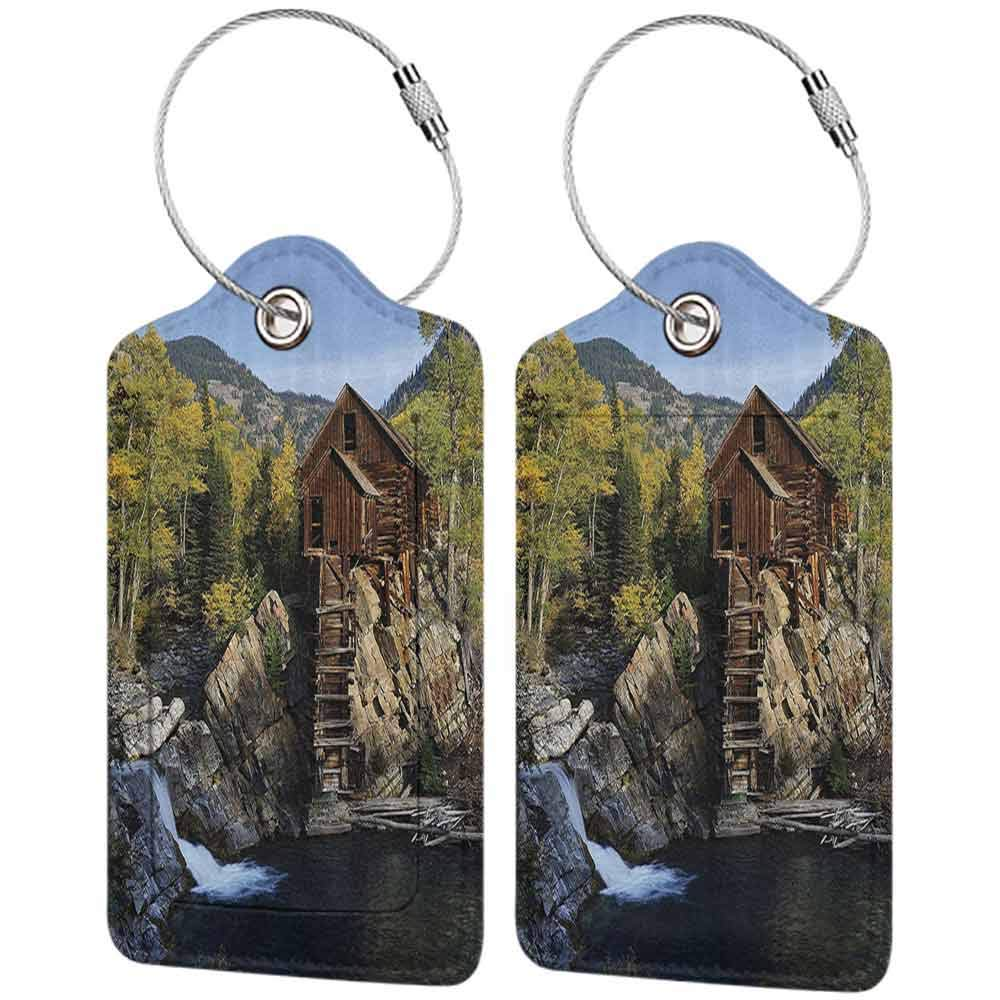 Waterproof luggage tag Lake House Decor Collection Secluded Wooden Cabin in the Woods River Waterfall Forest Nature Mill Mountain Pine Trees Soft to the touch Muli W2.7 x L4.6