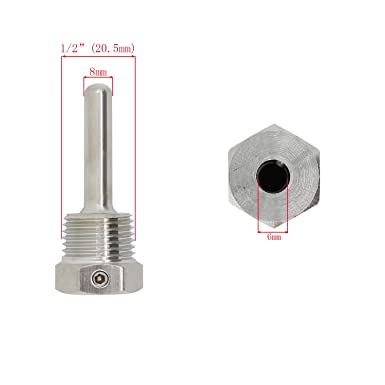 50mm 1//2 inch npt thermowell weldless with Fixing Screw for Beer fermenter Homebrew Boiler 30mm 50mm 100mm 150mm 200mm 300mm 400mm 500mm