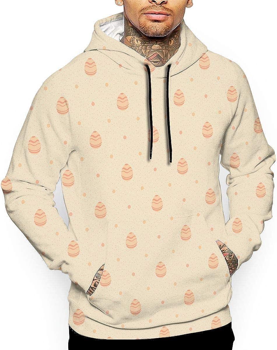 Easter Beige Polka Dot Ornate Eggs Mens Front Pouch Pocket Pullover Hoodie Sweatshirt Long Sleeves Pullover Tops
