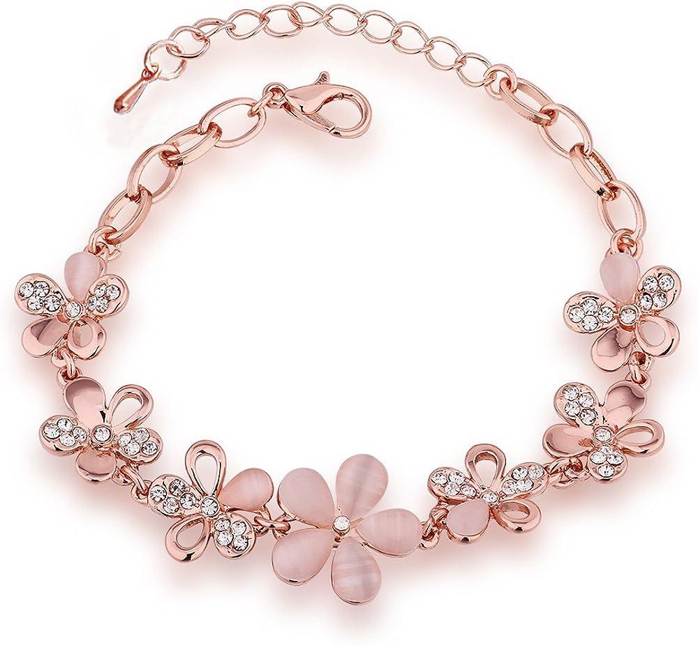 QueenDer Opal Siete Rose Flor Pulsera de Joyería Damas Mujeres Niñas Rosa Regalo Rose Gold Color