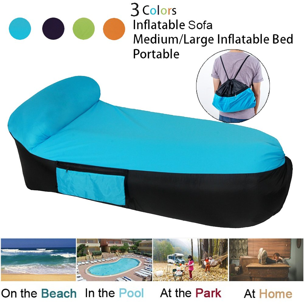 LOUTALA Inflatable Lounger Air Sofa Hammock-Portable Inflatable Couch Air Lounger With Portable Package Air Chair For Camping Travel Picni Pool Hiking Beach (Blue L) by LOUTALA