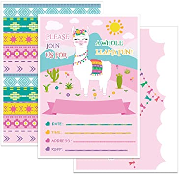 Amazon.com: WERNNSAI Llama Invitaciones de Fiesta con Sobres ...