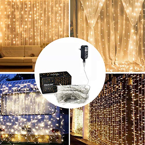 (IMAGE Curtain Lights, 9.8x9.8ft LED Curtain String Lights with 8 Modes for Home Garden Bedroom Wedding Party Backdrops Decor- Full Waterproof UL Safety-Warm White)