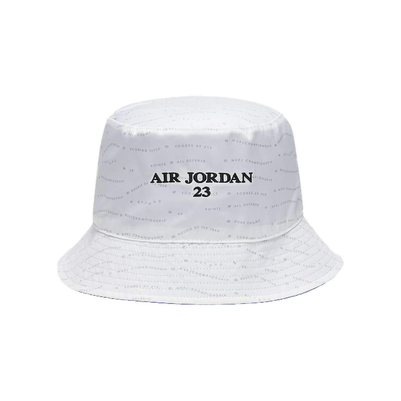 Jordan Men`s AJ 10 Accolades Reversible Bucket Hat (White(AA1305-100) Hyper  Royal Black af3052a72523
