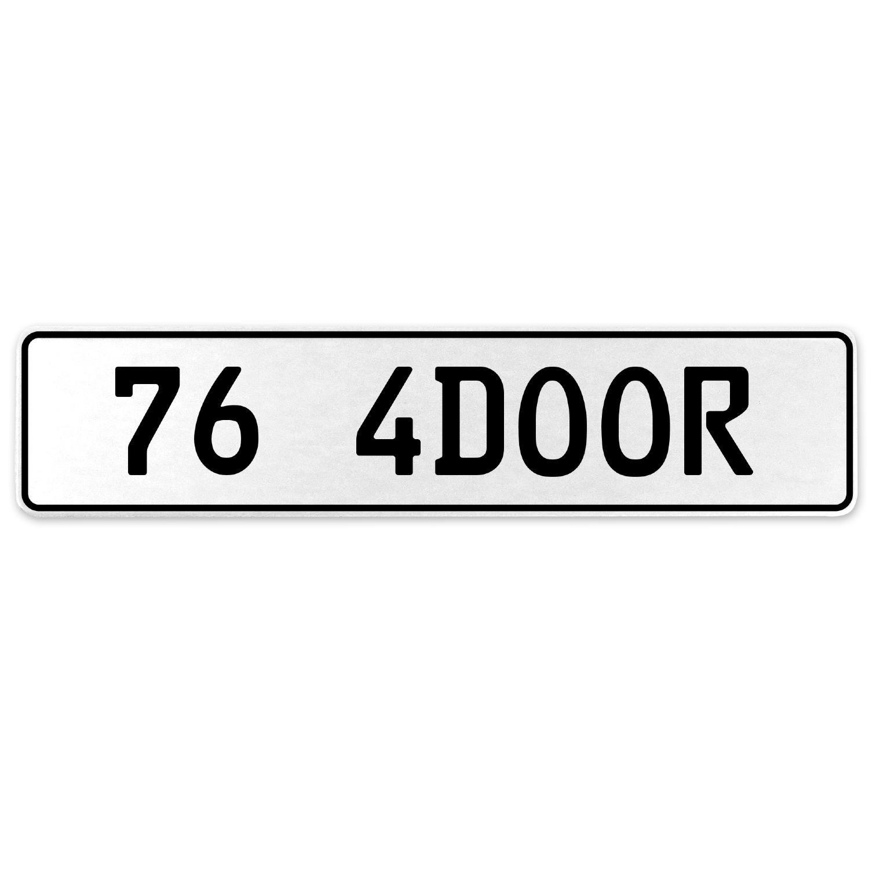 Vintage Parts 558138 76 4DOOR White Stamped Aluminum European License Plate