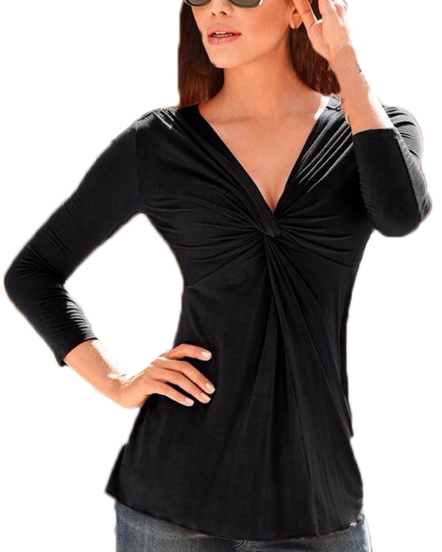 Auxo T Shirt Mujer Camisetas V Cuello Mangas Larga Elegante Camisas Primavera Tee Casual