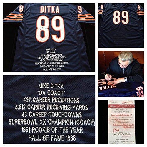 Mike-Ditka-Chicago-Bears-Signed-Autograph-Blue-Stat-Jersey-JSA-COA
