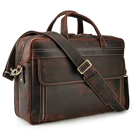 Amazon.com  Tiding Retro 17 Inch Men s Thick Full Grain Genuine Leather  Laptop Briefcase Large Shoulder Bag Business Bag  Computers   Accessories bb2fb2d1754a9
