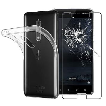 ebestStar - Compatible Funda Nokia Nokia 5 Carcasa Silicona, Protección Claro Ultra Slim, Transparente + Cristal Templado Protector [NB: Leer ...