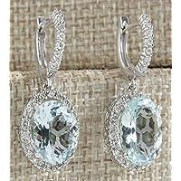 phitak shop Fashion Women 925 Silver Aquamarine Gemstone Bridal Ear Stud Hoop Dangle Earring