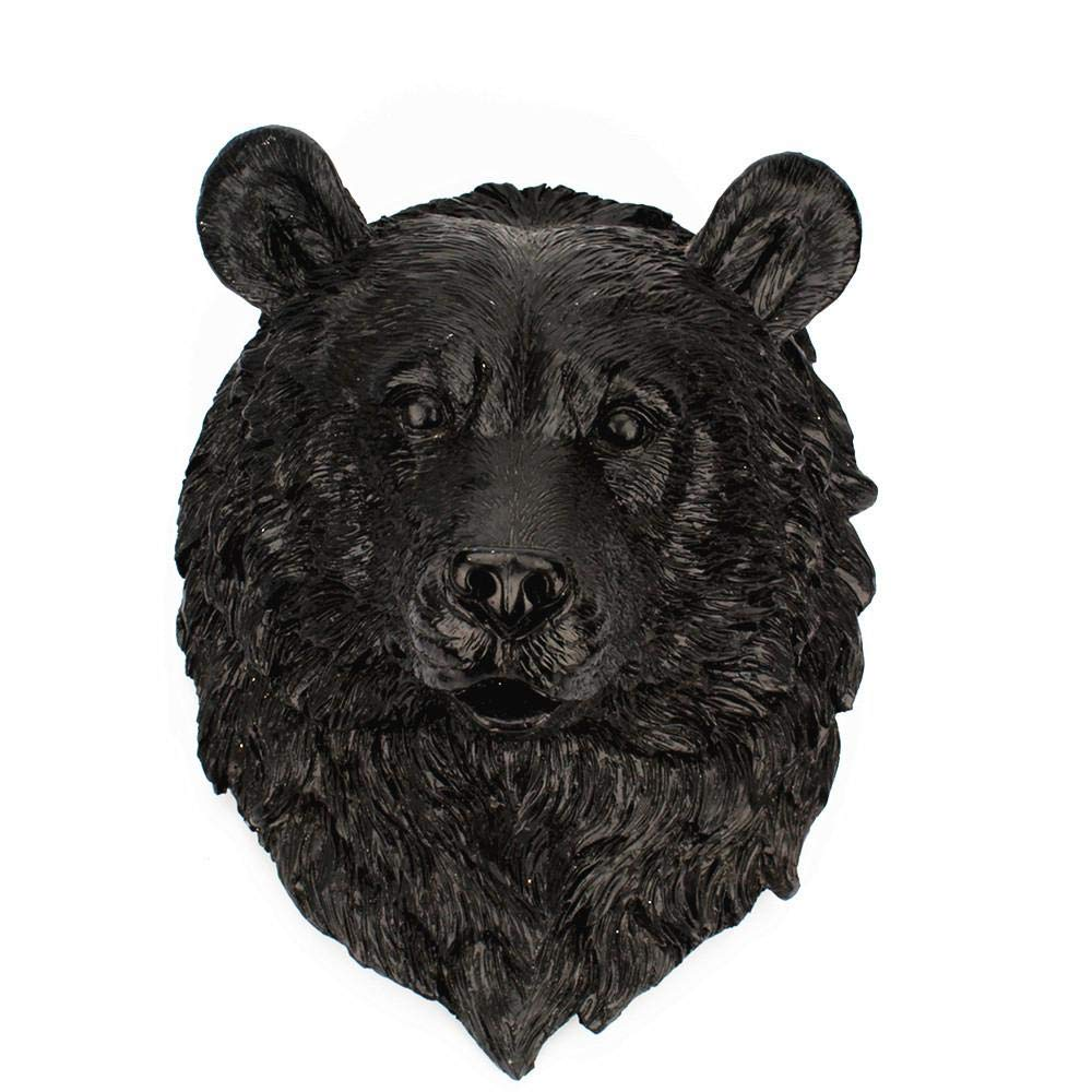Aolvo Faux Taxidermy, Bear Head Wall Mount from Eco-Friendly Resin Animal Wall Mount Fake Bear Head Mounted Statue Art for Room Bedroom Office Decor, Particularly Suitable for Gifts, Black