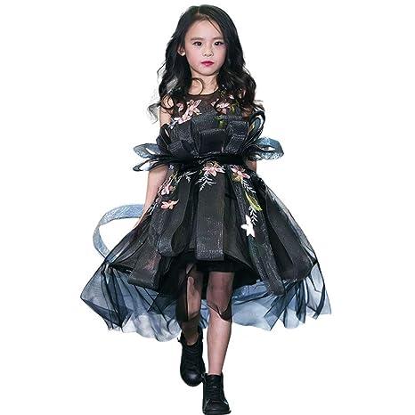 Vestido De Niña De Flores Negro Sin Mangas Para La Boda Princesa ...